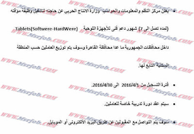 وظائف وزارة الانتاج الحربى 7/4/2016