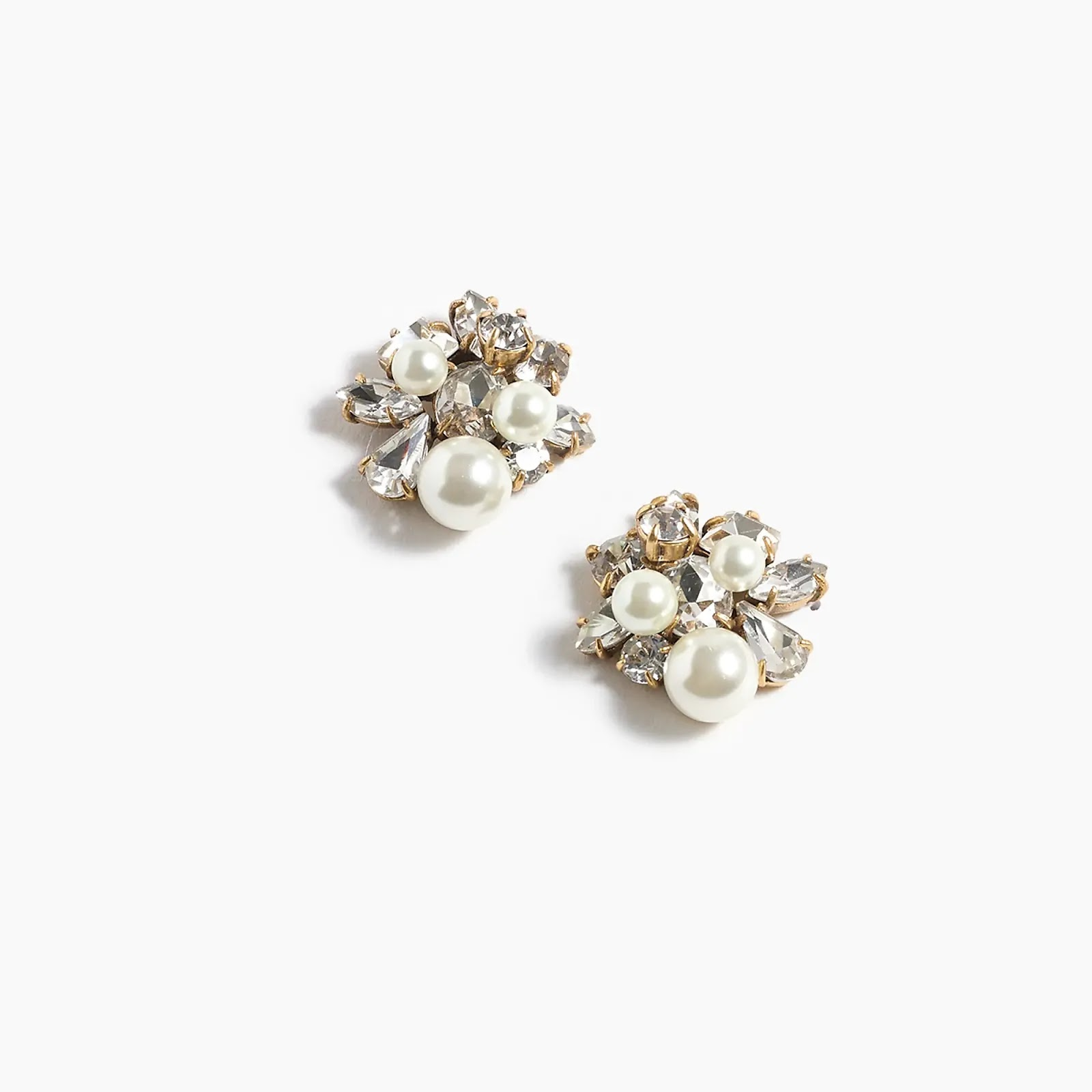 J Crew Pearl and crystal earrings - statement fashion blog