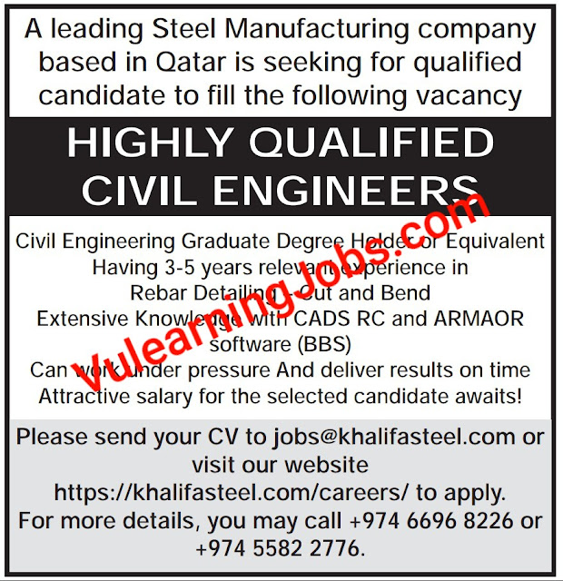 Steel Manufacturing Company Jobs In Qatar 2020 For Civil Engineer Latest