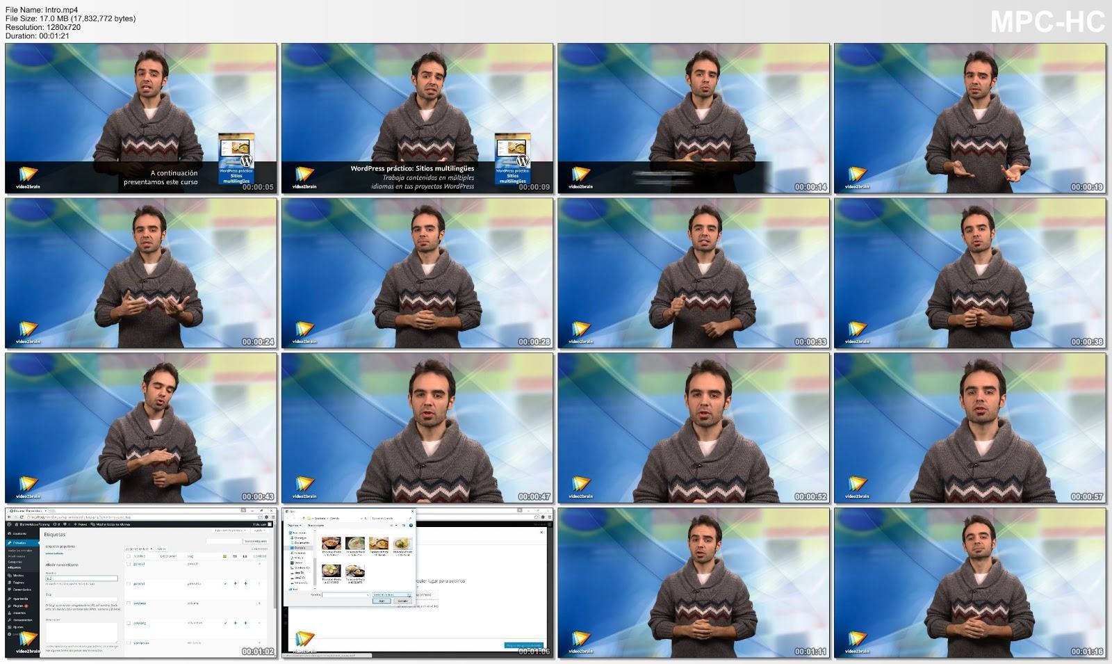 Miniaturas de un vídeo del curso
