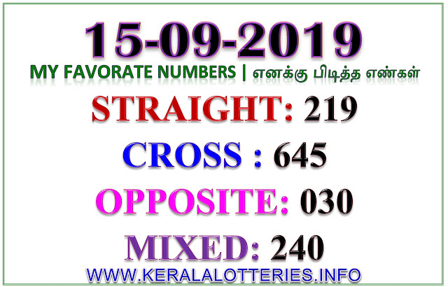 Kerala Lottery Results Guessing Best Favorite Numbers dated 14.09.2019