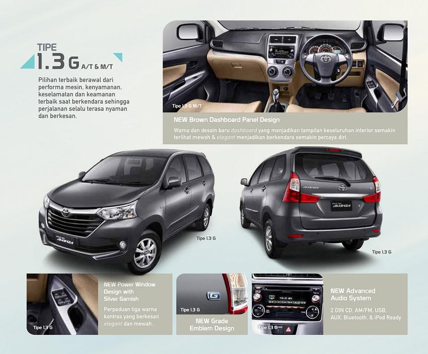Pilihan Warna Grand New Avanza 2017 Spoiler Perbedaan Toyota E Dan G Astra Indonesia Untuk Tipe Gand 1 3 Sudah Dilengkapi Dengan Fog Lamp Audio Unit Fitur 2 Din Cd Am Fm Usb Aux Bluetooth Ipod