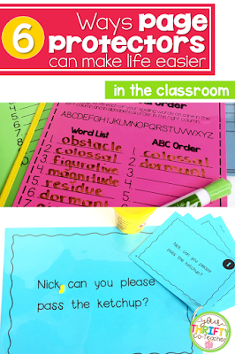 Page protectors are a great reusable resource that can help you keep things in your classroom organized, as well as helping you save from making an abundance of copies.