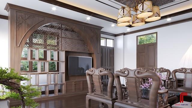 Model phòng khách theo kiểu gỗ Đồng Kỵ cùng các motip trang trí truyền thống