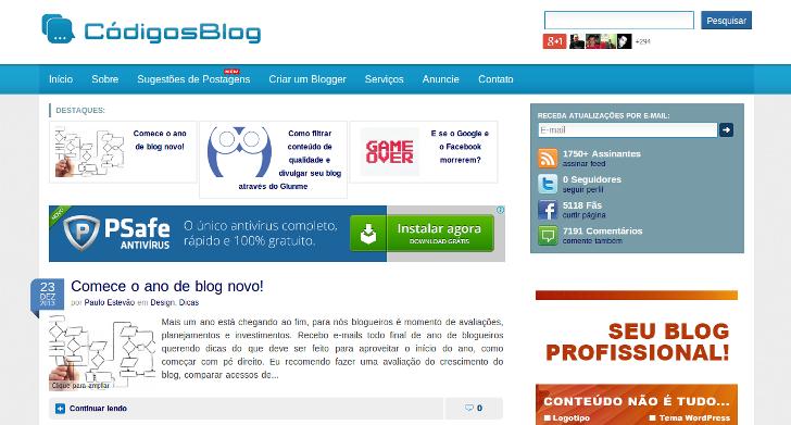 Códigos Blog em 27/12/2013