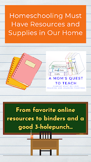 Text: Homeschooling Must Have Resources and Supplies in Our Home; From favorite online resources to binders and a good 3 hole-punch; logo of A Mom's Quest to Teach; notebook clipart; teacher and blackboard clipart