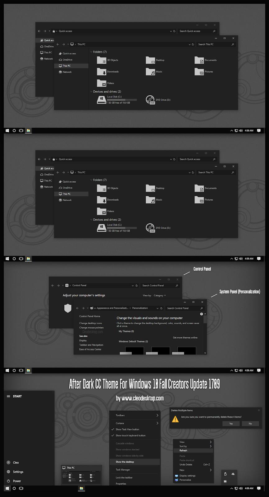 After Dark CC Theme For Windows10 Fall Creators Update 1709
