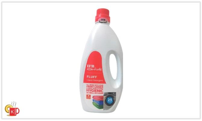 IFB Fluff liquid detergent bottle of 1 litre for front-loading washing machine.