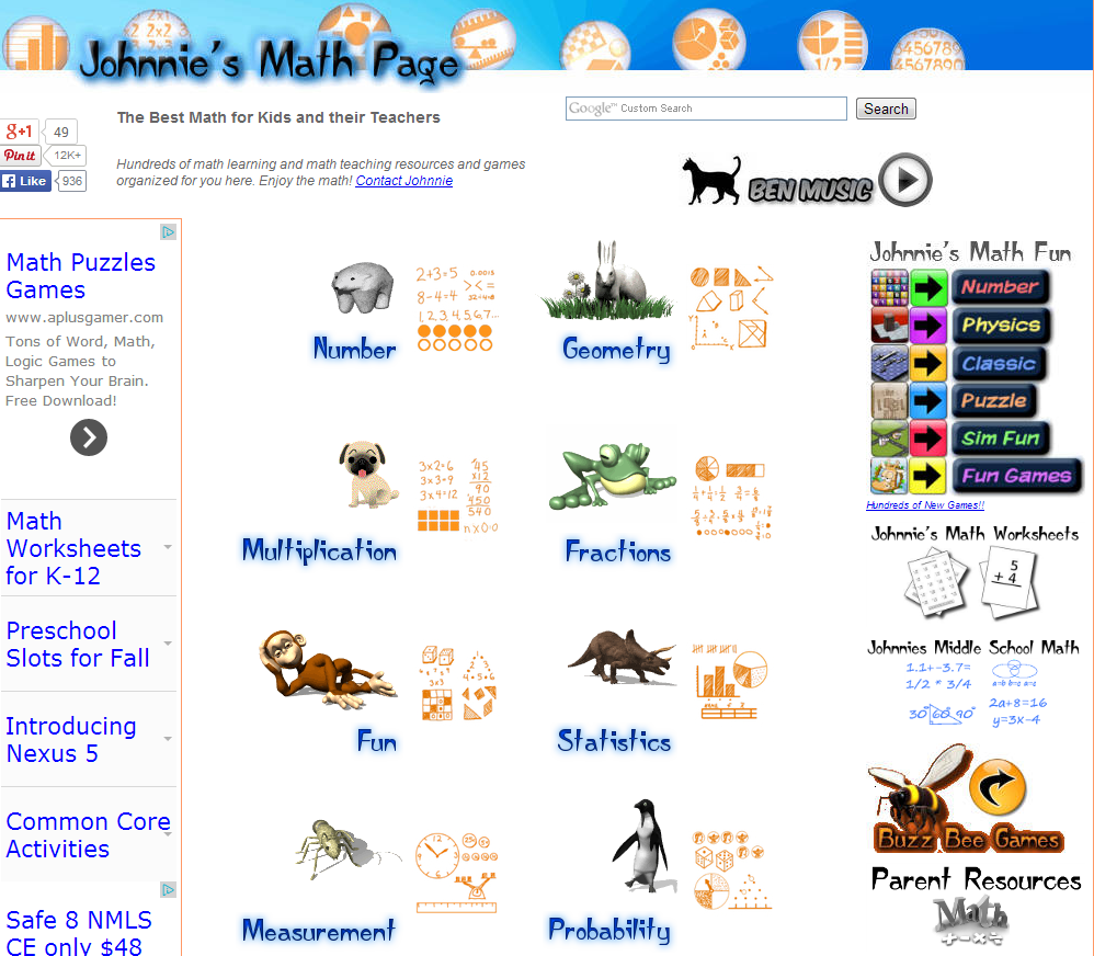 Workbooks school maths worksheets : Learning Never Stops: 56 great math websites for students of any age