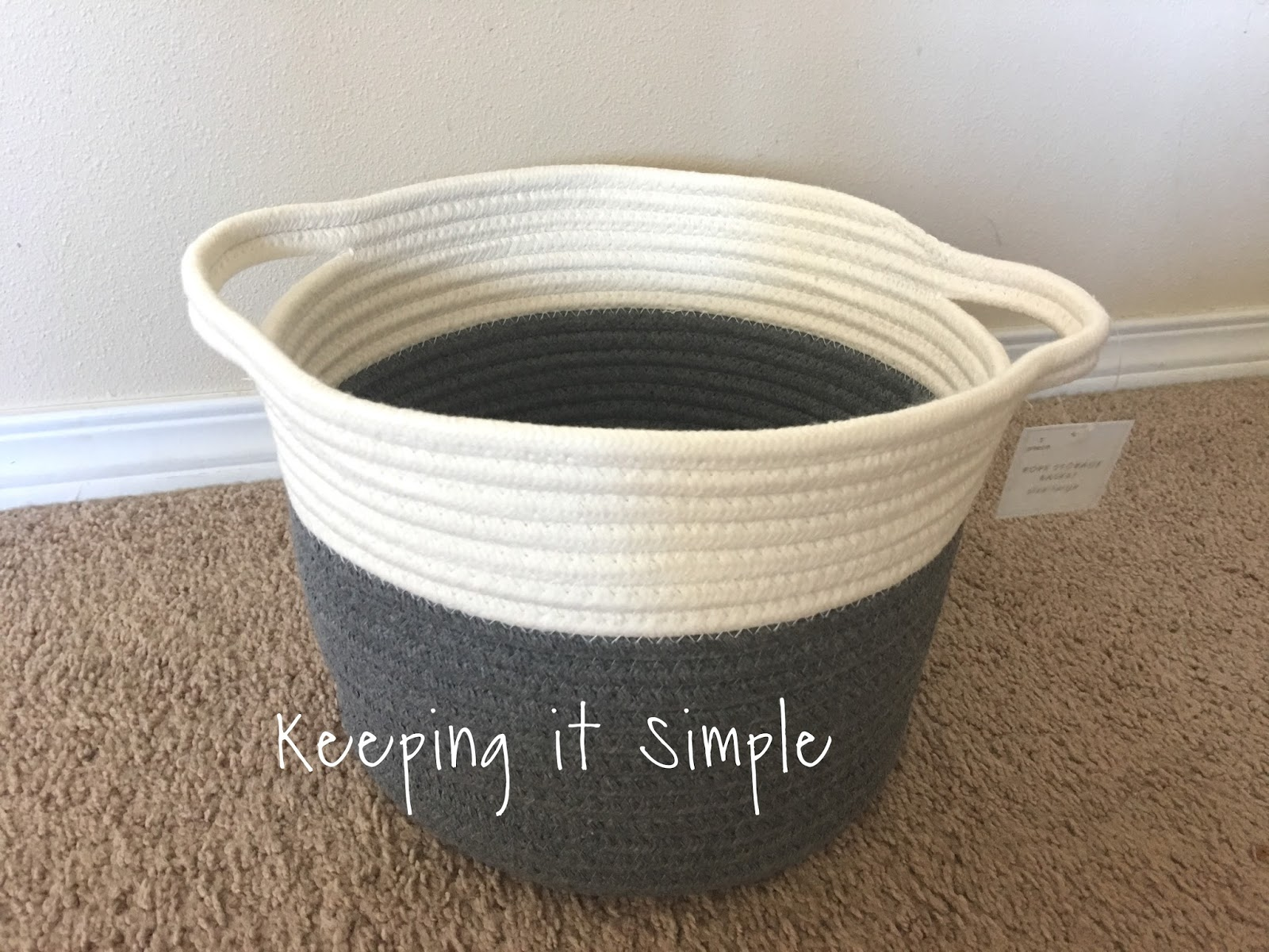 keeping it simple diy no sew yellow rope baskets. Black Bedroom Furniture Sets. Home Design Ideas