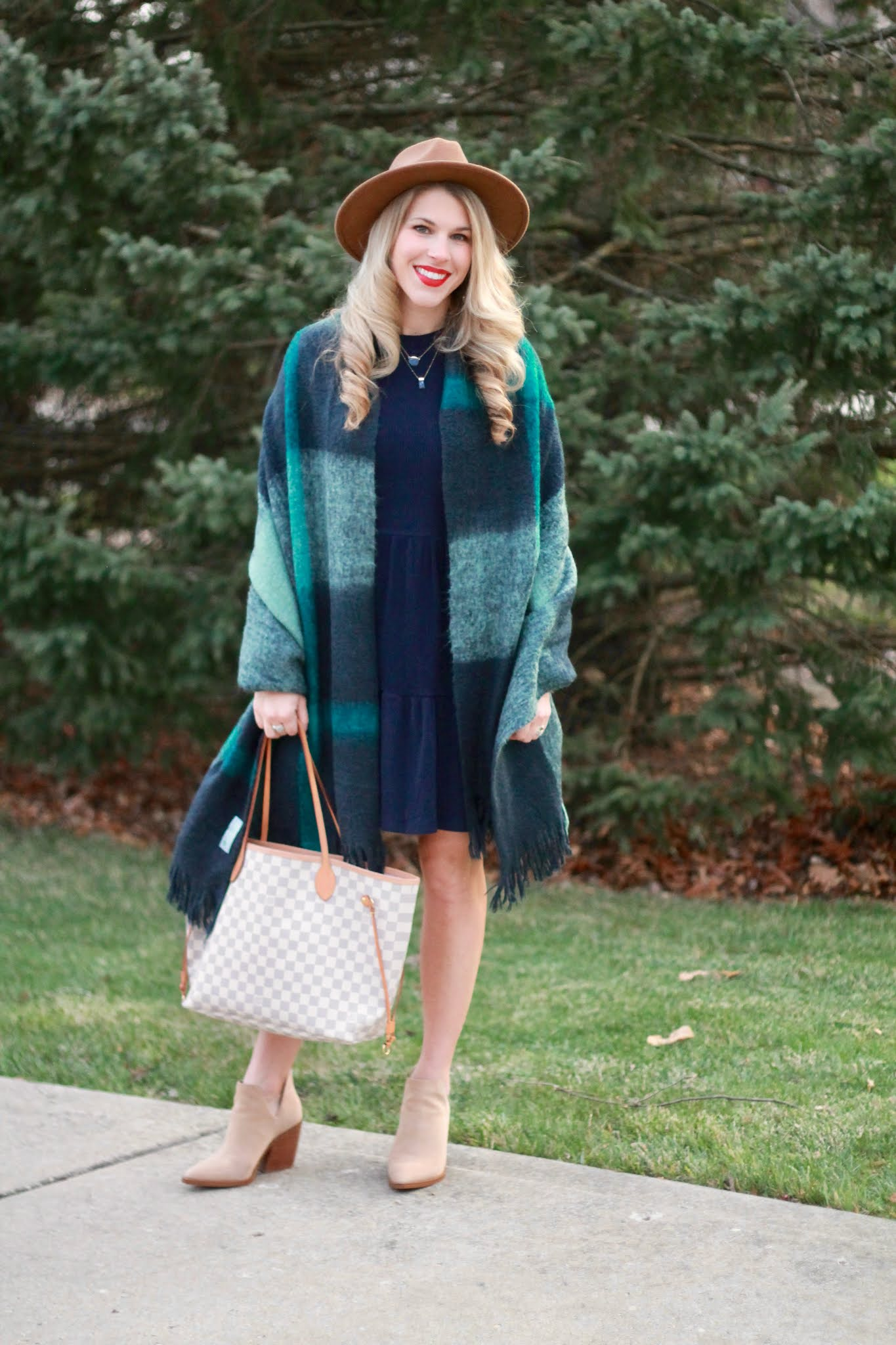fall dress outfit, navy dress, taupe booties, Aventura, plaid shawl, scrawl