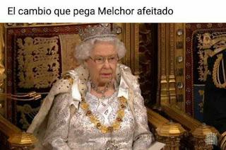 Reina Inglaterra similar Rey Melchor afeitado meme