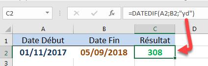 Calculer le nombre de jours en ignorant les années DATEDIF