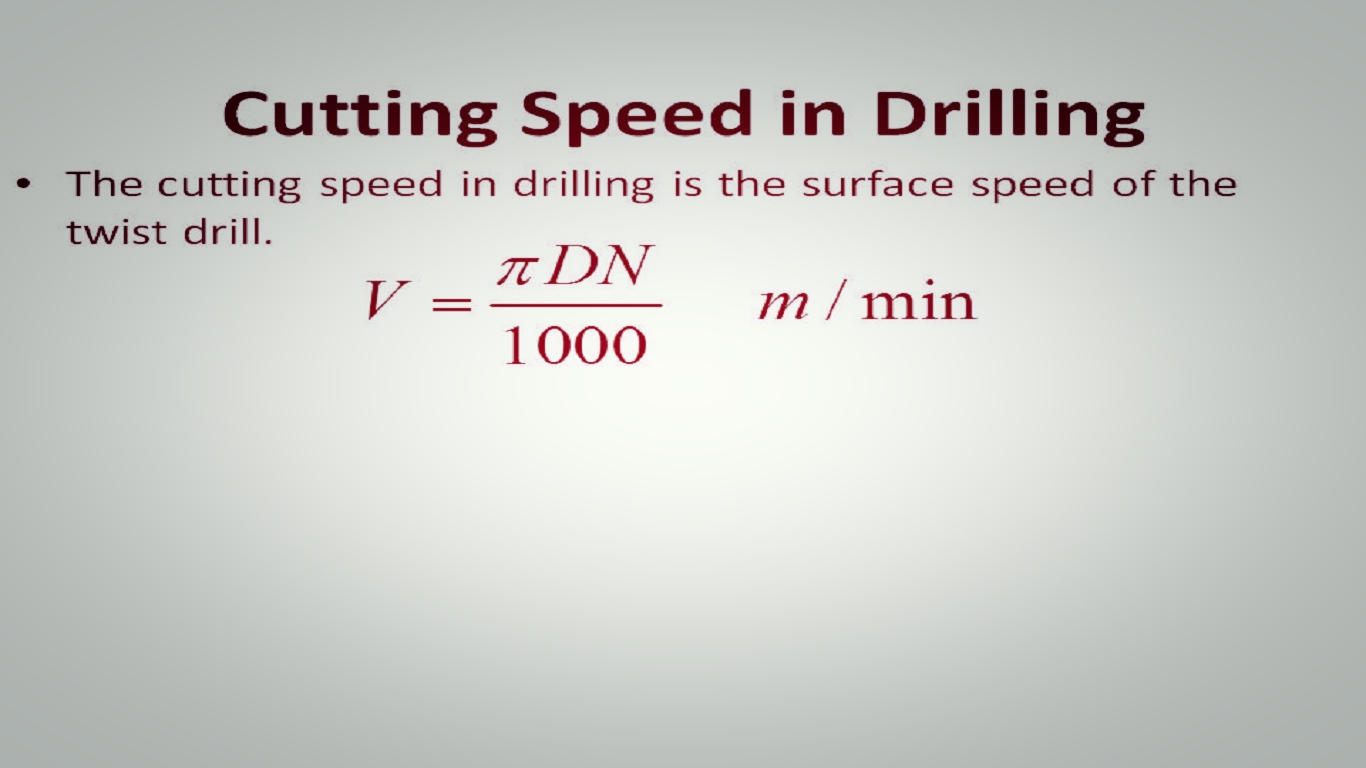 drilling formulas Drilling calculations drilling calculations production design iet 215 exercise 1: calculate the spindle speed for drilling a 1375 diameter through hole in 1250 inch thick ss 304 with a 265 bhn.