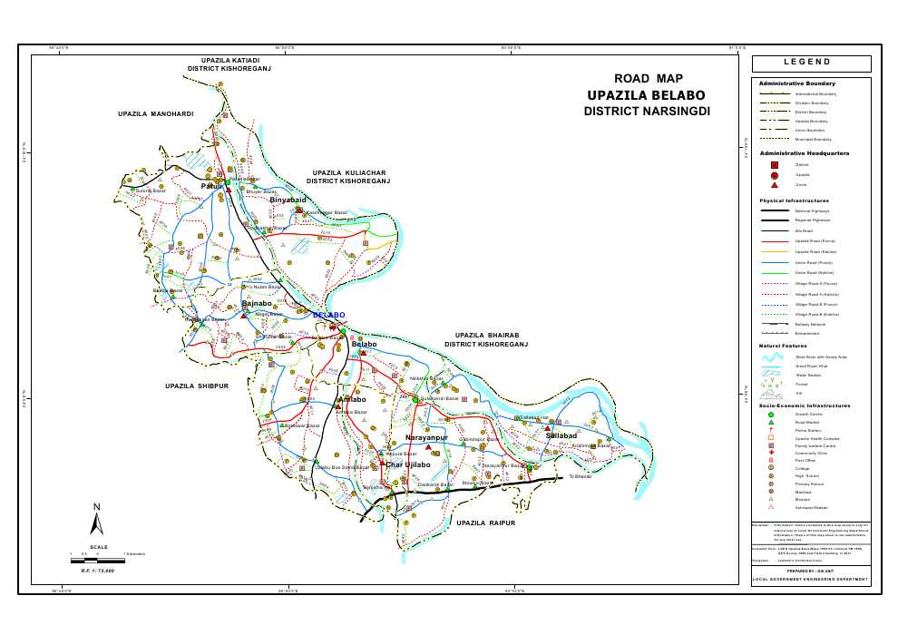 Belabo Upazila Road Map Narsingdi District Bangladesh
