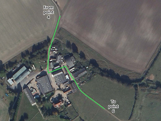 The green line shows the route of Ippollitts bridleway 23 through the farmyard Source: Esri, DigitalGlobe, GeoEye, Earthstar Geographics, CNES/Airbus DS, USDA, USGS, AEX, Getmapping, Aerogrid, IGN, IGP, swisstopo, and the GIS User Community