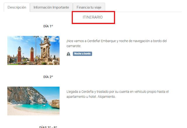 Itinerario reserva viaje barato en buviba