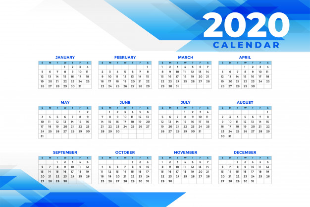 Calendario 2020 abstracto gratis
