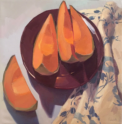 cantaloupe melon fruit oil painting by sarah sedwick