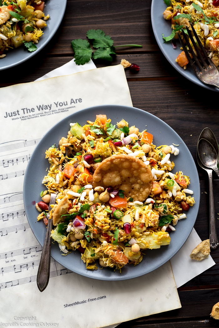 Bhel puri is lip smacking snack item that is prepared with fried flat bread, puffed rice and chutneys.