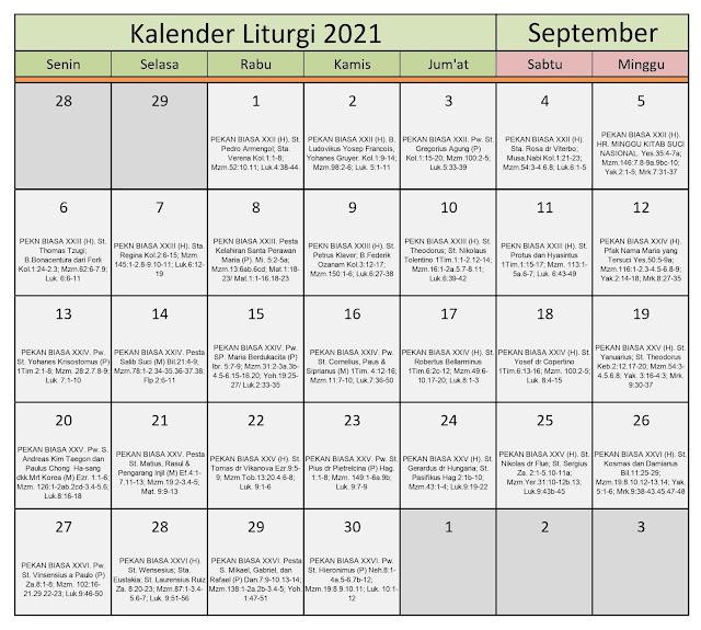 Download Kalender Liturgi September 2021 Tahun B/1 PDF Excel dan JPEG