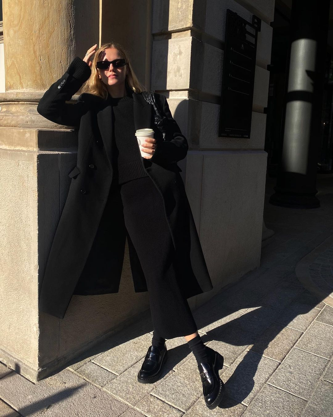 Black coat and black boots
