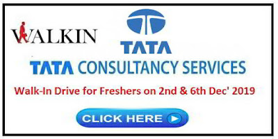 TCS walk-in interview for B.Pharm Freshers on 2nd & 6th Dec' 2019