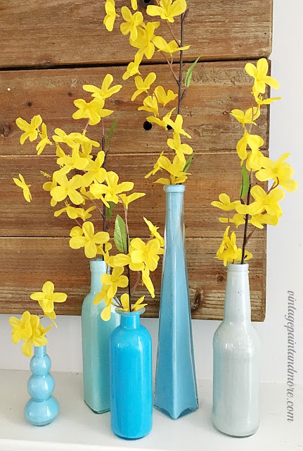 Vintage Paint and more... recycled bottles diy'd with  paint for a summer mantel