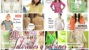 20 Tutoriales y Patrones de Blusas para tejer en crochet y dos agujas / Colección