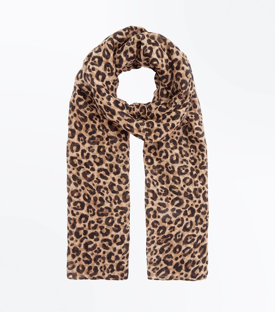 new look light brown animal print longline scarf