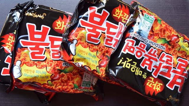 halal samyang ramen hot chicken flavor , korean instant noodles , fatiha zainal