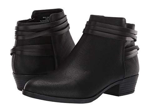 image of black ankle boots with strappy detail