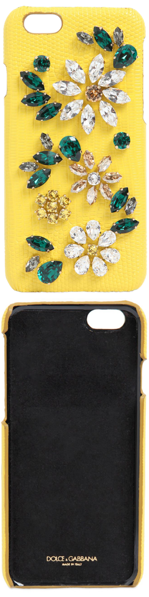 Dolce & Gabbana Crystal Flowers Leather IPhone 6 Case