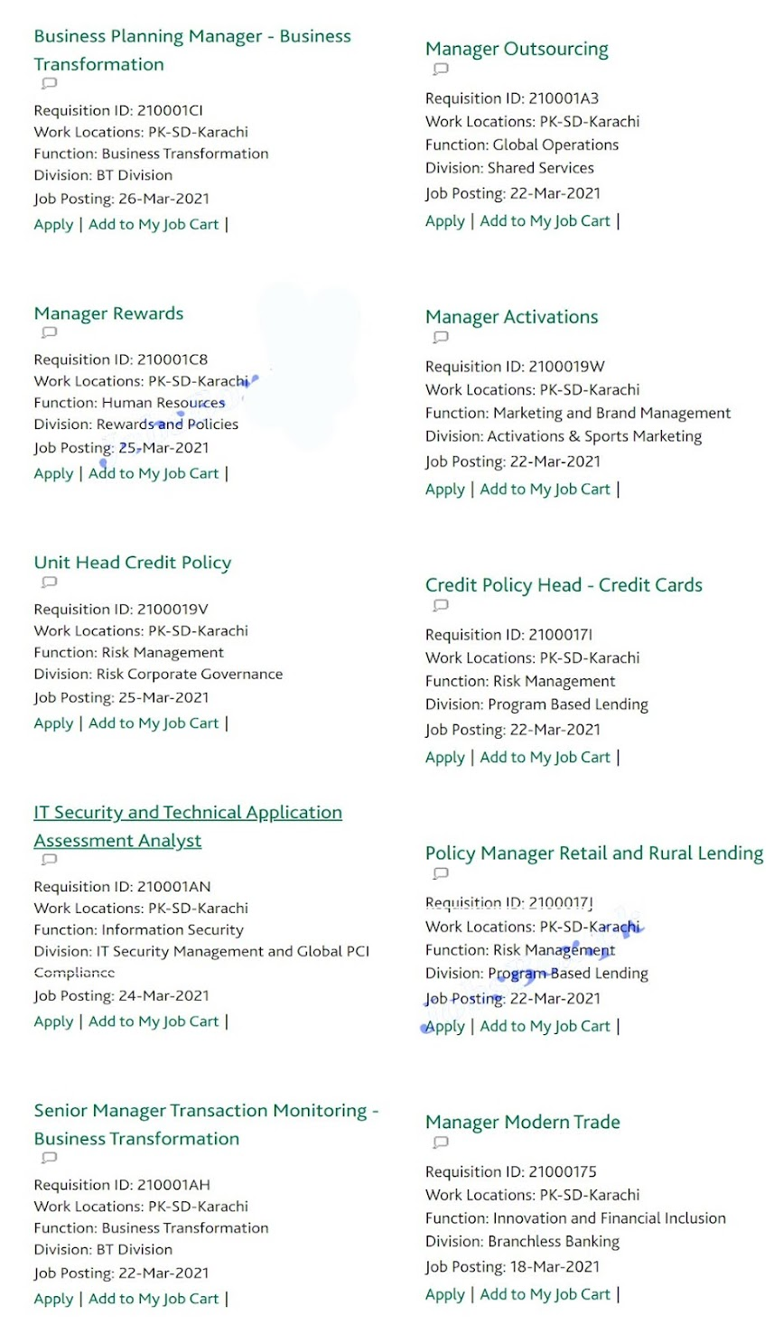 Latest Jobs in Habib Bank Limited  HBL 2021 -2- Apply online
