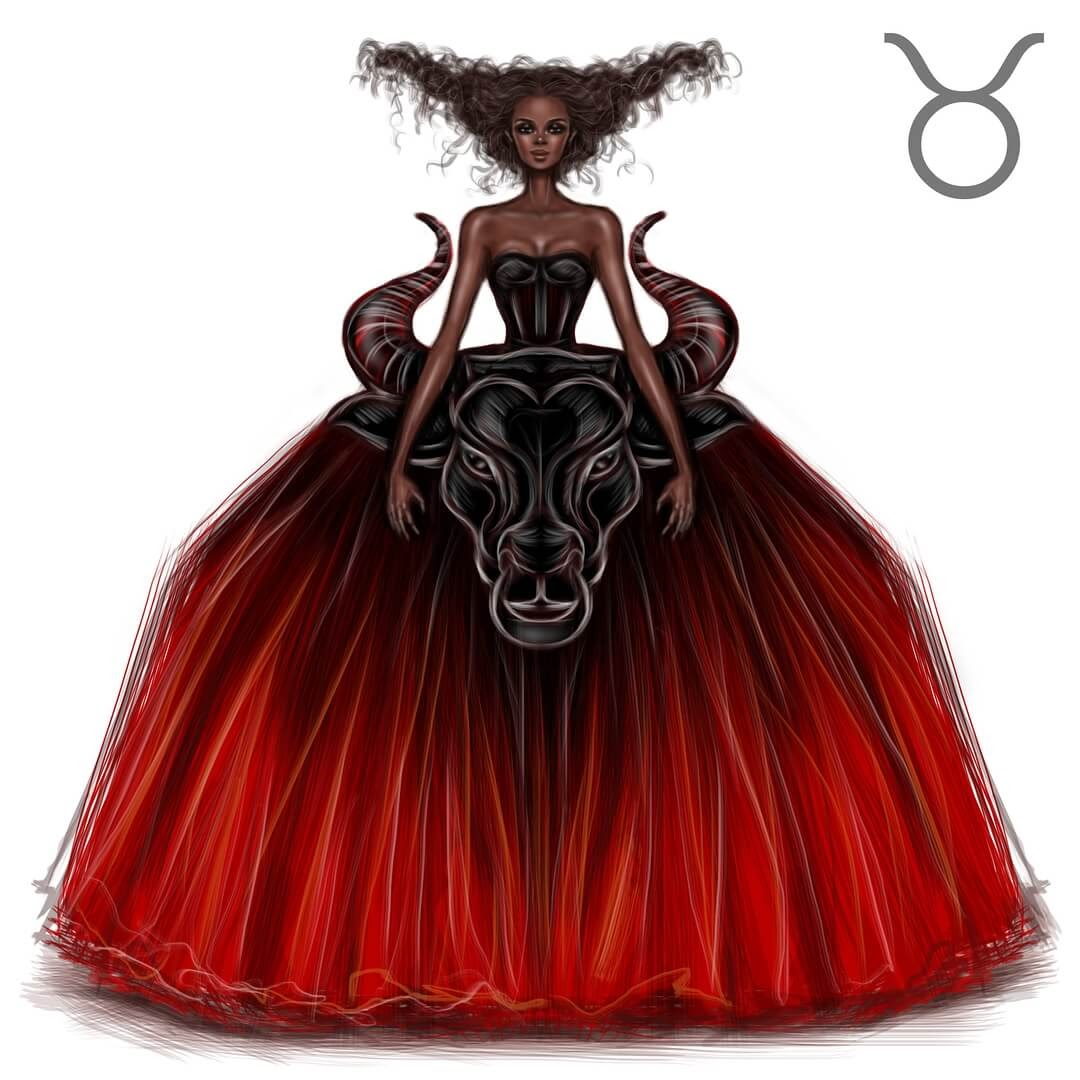 02-Taurus-Shamekh-Bluwi-Zodiac-Haute-Couture-Exquisite-Fashion-Drawings-www-designstack-co