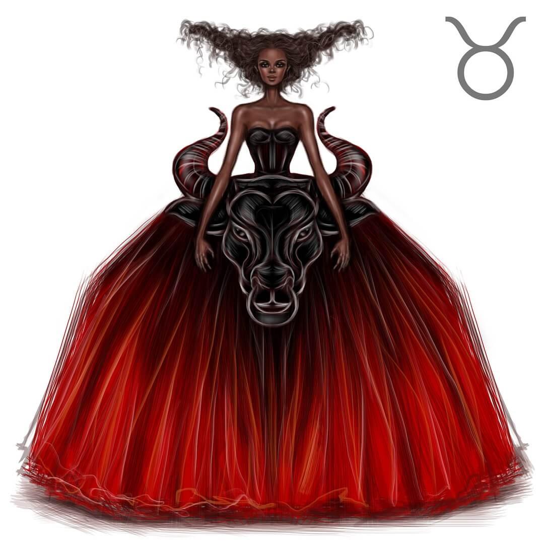 02-Taurus-Shamekh-Bluwi-Zodiac-Haute-Couture-Exquisite-Fashion-Drawings-www-designstack-co