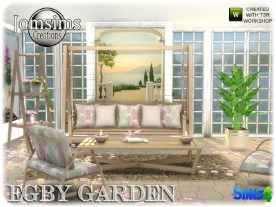 egby garden например, сад для The Sims 4 Садовый набор. Egby Диван в стиле шезлонг. подушки деко для дивана. живой стул. 2 панели. большие картины х8. Журнальный столик. Цветы деко для пола. расслабляющий и уютный новый уголок. Автор: jomsims