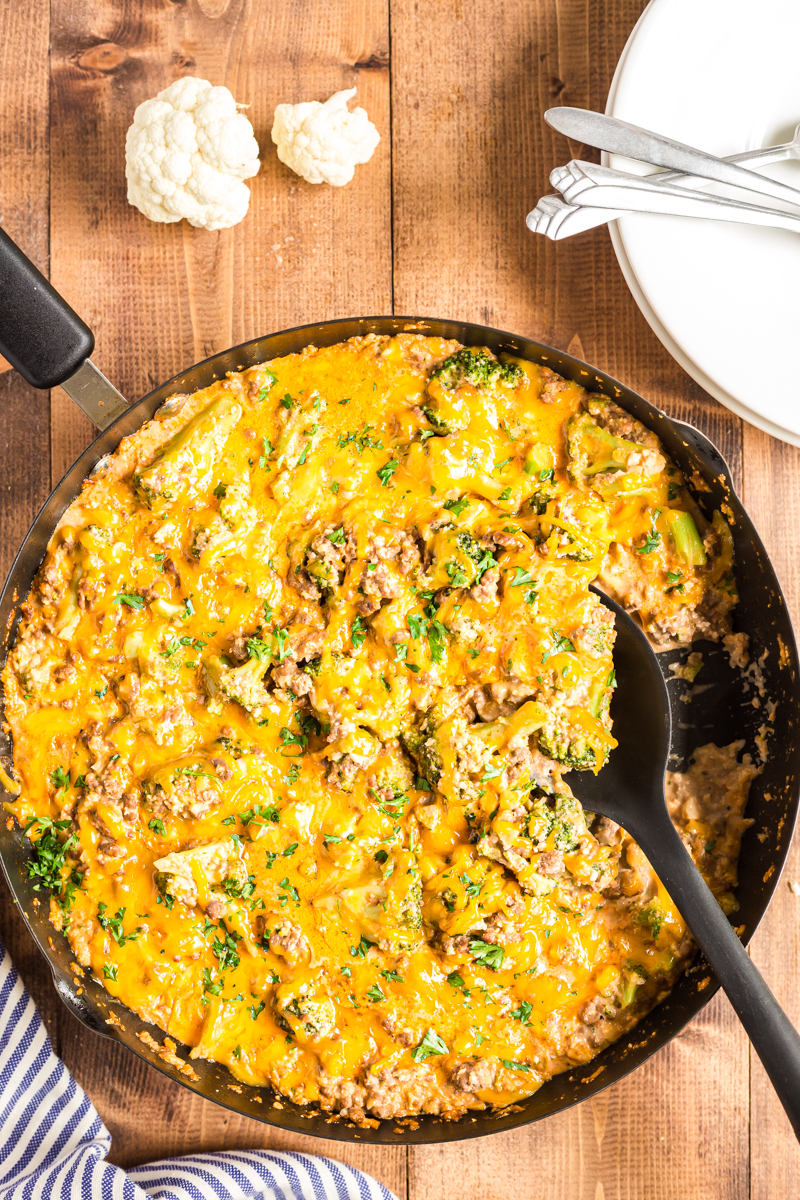 This Low Carb Cheesy Beef and Broccoli Rice Skillet recipe is the perfect quick and easy weeknight dinner the whole family will love!