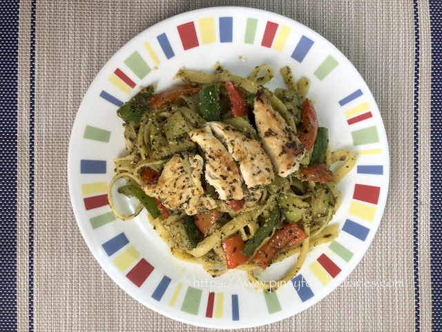 Chicken Pesto Pasta with Pepper and Zucchini