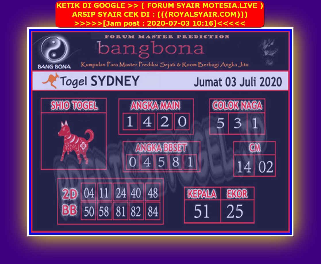 Kode syair Sydney Jumat 3 Juli 2020 68