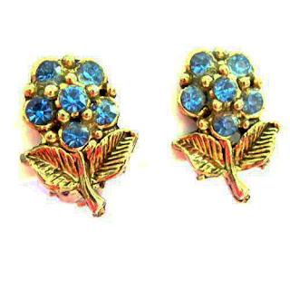 diamante flower clip earrings 1960s