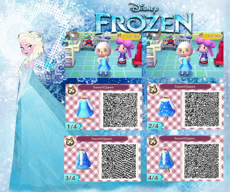 QR code Animal Crossing pour créer une robe Elsa La reine des neiges frozen