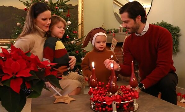 Princess Sofia wore a new knitted dress from Andiata, and palm leaf gold ring from Emma Israelsson Stockholm. Prince Alexander and Prince Gabriel
