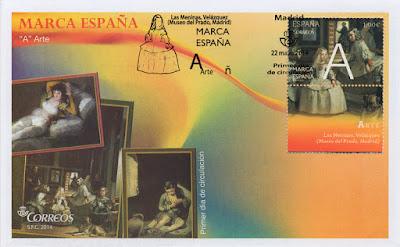 Sobre PDC del sello dedicado a la A de la Marca España con Las Meninas de Velázquez