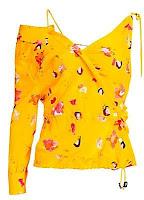 Altuzarra Floral Asymmetric Silk One Shoulder Blouse