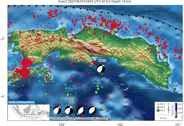 13 Kali Gempa Susulan Setelah Magnitudo 6,1 Goyang Perairan Selatan Pulau Seram