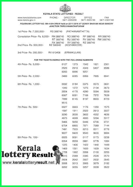 Kerala Lottery Result 03-11-2019 Pournami RN-416 Lottery Result keralalotteryresult.net