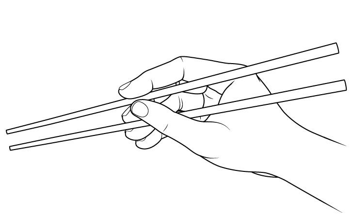 Gambar tampilan sisi sumpit memegang tangan