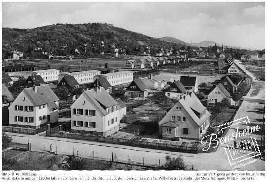 BIAB_B_02_0002.jpg; Ansichtskarte aus den 1960er Jahren von Bensheim, Blickrichtung Südosten, Bereich Saarstraße, Wilhelmstraße. Gebrüder Metz, Tübingen