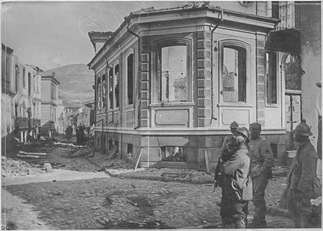 In the streets of Bitola (Monastir) (March 1917). The day after bombardment by incendiary shells